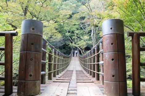 高萩市、花貫渓谷の汐見滝吊り橋からの眺めはすばらしいです。