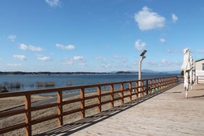 霞ヶ浦に面した西側にはウッドデッキがあります,こいこい,行方市観光物産展