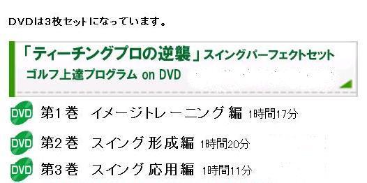 DVDは3枚セットになっています。第1巻 イメージトレーニング編 1時間17分、第2巻 スイング形成編 1時間20分、第3巻 スイング応用編 1時間11分。このセットが完璧なスイングに!
