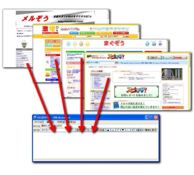 ブラウザに表示された無料レポートの紹介URLをドラッグドロップ、こんなに無料レポート図書館が簡単にできる作成ツール「らいぶらりん」